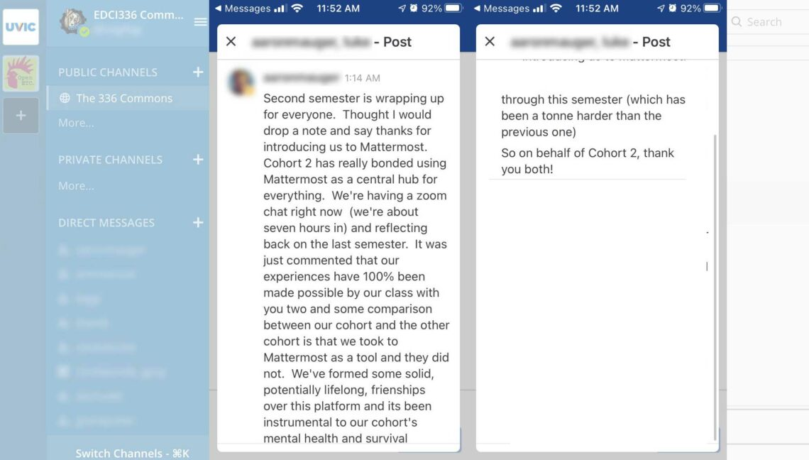 Screen shots of student message atop the UVIC Mattermost area